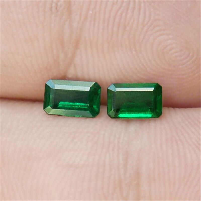 0,92 Karat Ein Paar Natürlichen Smaragd Losen Stein Lebendige Grüne Ngtc Zertifikat Bare Stein Oberfläche Kristall