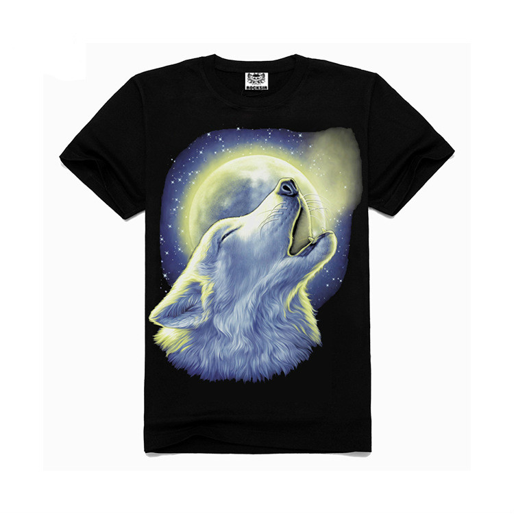 f61bd7e58c4c BomHCS 3D Printed Cotton Men's Summer Short-sleeved Leisure T Shirt Top  Animal Series WOLF F1206NT2