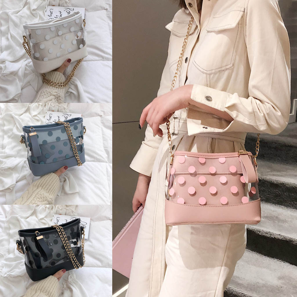 Summer Big Jelly Transparent Bag Chain PVC Tote Shoulder Ladies Clear Bag Plastic Handbag Waterproof Women Beach Bag(China)