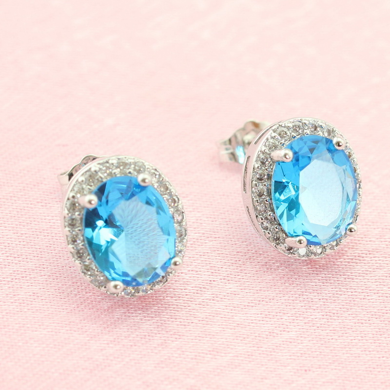Aliexpress.com : Buy Round Dark Blue Stones Light Blue CZ Jewelry Silver  Color Stud Earring For Women Christmas Free Gift Box From Reliable Colorful  Stud ... Amazing Pictures