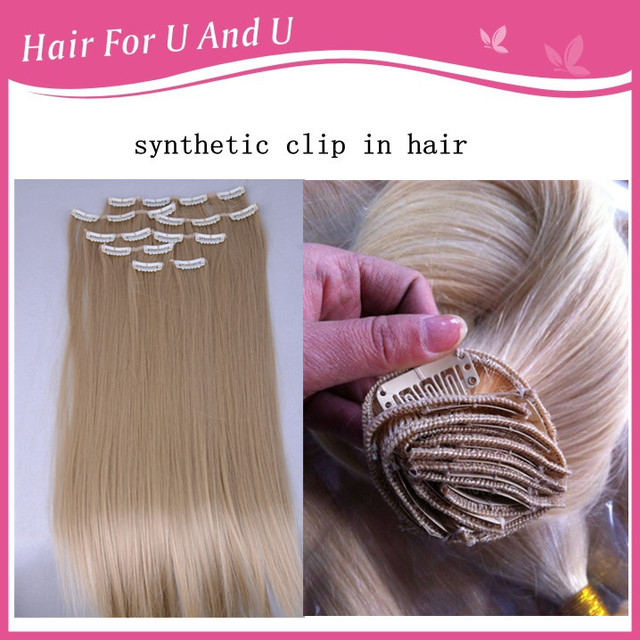 Many Colors 50cm Synthetic Clip In Hair Extensions High Tempreature