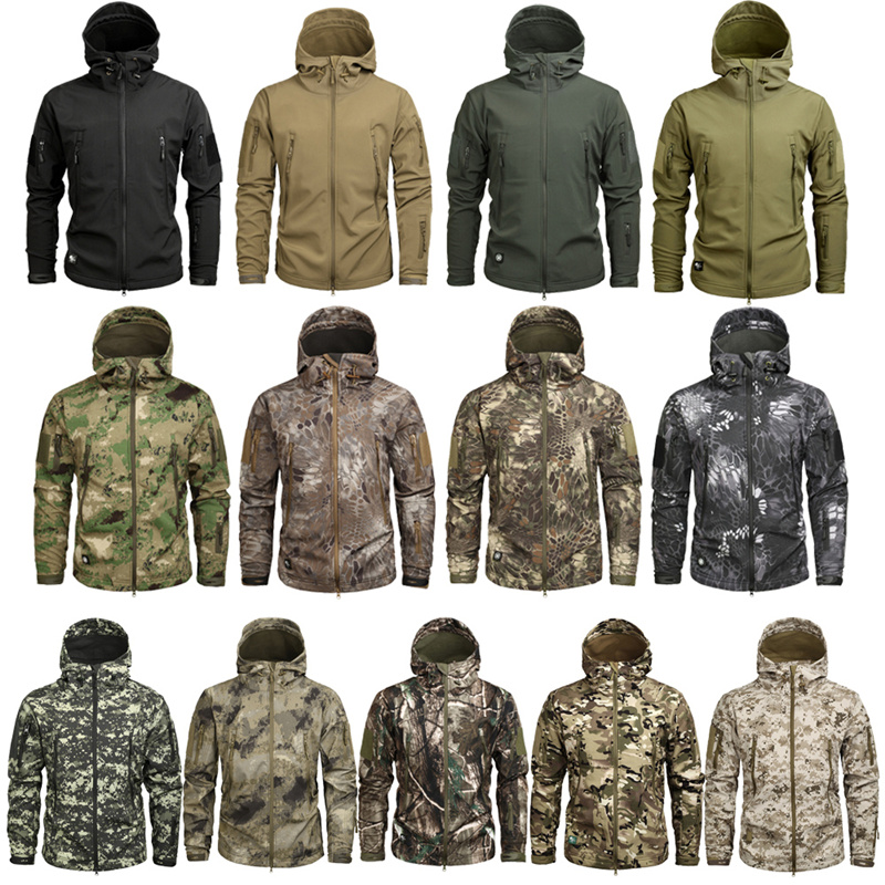 Shark Skin Men Waterproof Army Fleece Multicam Camouflage Windbreakers Outdoor Clothing Warm Soft Shell Military Tactical Jacket|Hiking Jackets|   - title=