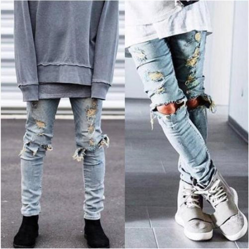 High Quality Men Ripped Jeans Destroyed Jeans Mens Hip Hop Zipper Biker Denim Pants Justin Bieber Ripped Jeans for Men top quality off white jeans ripped denim knee hole zipper biker mens harem jeans pants destroyed torn fear of god joggers
