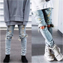 Высокое качество мужские рваные джинсы Уничтожено джинсы мужские хип-хоп молния Байкер джинсовые штаны Джастин Бибер рваные джинсы для мужчин