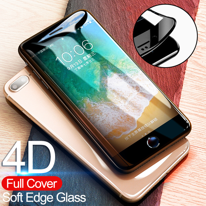 4D מעוקל קצה מלא כיסוי מסך מגן עבור iPhone 7 6 s 8 6 מזג זכוכית על עבור אפל iPhone 6 s 6 s 7 8 בתוספת זכוכית סרט