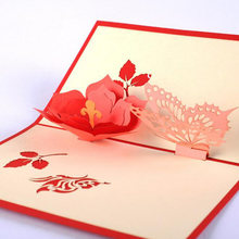 1PC 3D Paper Laser Cut Handmade Butterfly Flower PostCard Greeting Cards Party Valentine's Day Birthday Invitation Card(China)
