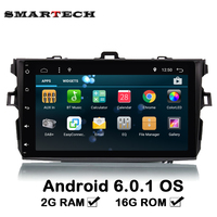 SMARTECH 2G RAM 2Din For Toyota Corolla 2006-2011 Car Audio Radio Video Quad core Android 6.0 Car Steering Wheel GPS Navigation