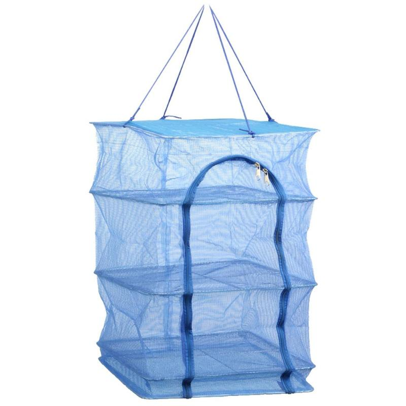 Fish Hanging Net 4 Layers Durable Folding Vegetable Dishes Mesh Drying Net Tool#