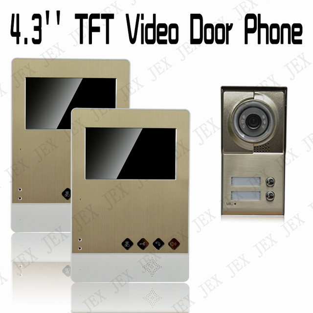 JERUAN New luxury gold acrylic panel 4.3 inch  Video Door Phone Doorbell  Security Entry Intercom System doorphone 1V2