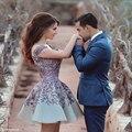 Nueva Homecoming vestidos con cuello en V Appliques sin respaldo azul Short Mini Cocktail vestidos 2015 nuevo