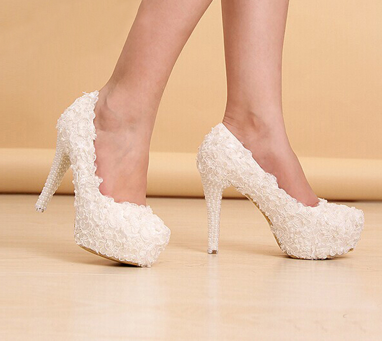 8d2083ade2d7 Newest White Beautiful Vogue Lace Flowers Pearl High Heels Wedding Bridal  Shoes Comfortable Bridesmaid Shoes-in Women s Pumps from Shoes on  Aliexpress.com ...