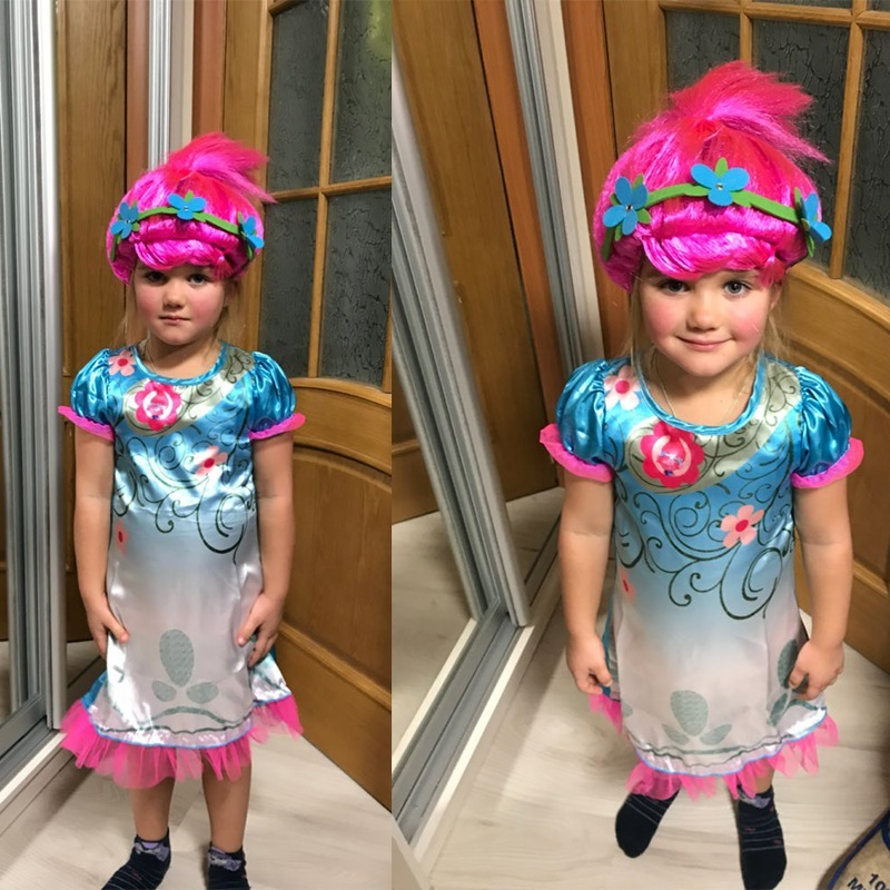 2018 Girls Dresses Trolls Poppy Cosplay Costumes Dress For Girls Bobo Choses Halloween Clothes Kids Fancy Dress & Girl Wig Set аксессуары для косплея cosplay wig cosplay cos cos
