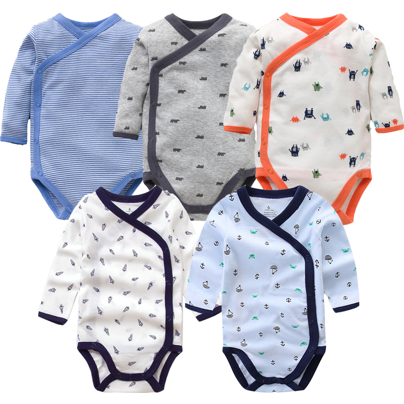 Smiling Babe 5Pcs/Lot Long Sleeves Baby Romper Soft Cotton Fashion Baby Clothes Cartoon Printed Newborn Baby Boys Girls Clothes