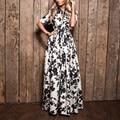 Винтаж Женщин Цветочный Печати Длинные Dress Элегантные Дамы Полная Длина Maxi и Long Dress Женский Party Dress