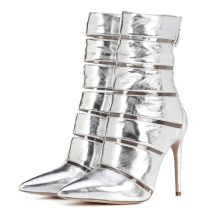 Silver Patent Leather Mid Calf Boots Thin High Heels Women Autumn Shoes Female Pointed Toe Boots Woman Spring Shoes TL-A0131 original intention new gorgeous women mid calf boots pointed toe metal thin heels boots black red shoes woman us size 4 10 5