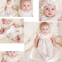 Christening Gown Beaded Special Occasion Dress Newborn Baby Baptism Robe with Hat Bonnet Flower Emboridered Satin Dress A015