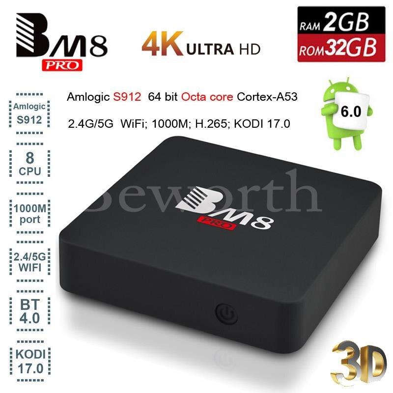 BM8 Pro Android 6.0 Smart TV Box Amlogic S912 Octa Core 2GB 32GB 4K Media Player Mini PC Kodi 17.0 5G Wifi BT4.0 V A95X Nexbox zidoo x6 android 5 1 tv box rk3368 octa core kodi 3d mini pc