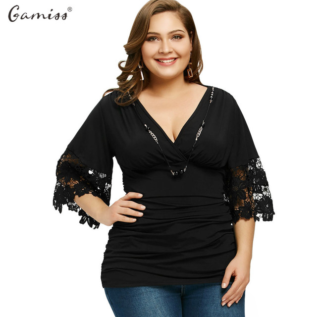 72151c340 Gamiss Women Black Plus Size Blouses Sexy V-Neck Three Quarter Flare Sleeve  Lace Tees