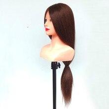 29 дюймов 85% настоящие волосы парикмахерских Головы Куклы с плеча косметологии Практика Обучение манекен голова с человеческий волос