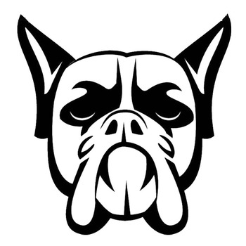 10.5*10.9CM Boxer Dog Head Vinyl Decal Super Cool Car Tail Stickers Car Styling Bumper Decoration Black/Silver S1-0528 image