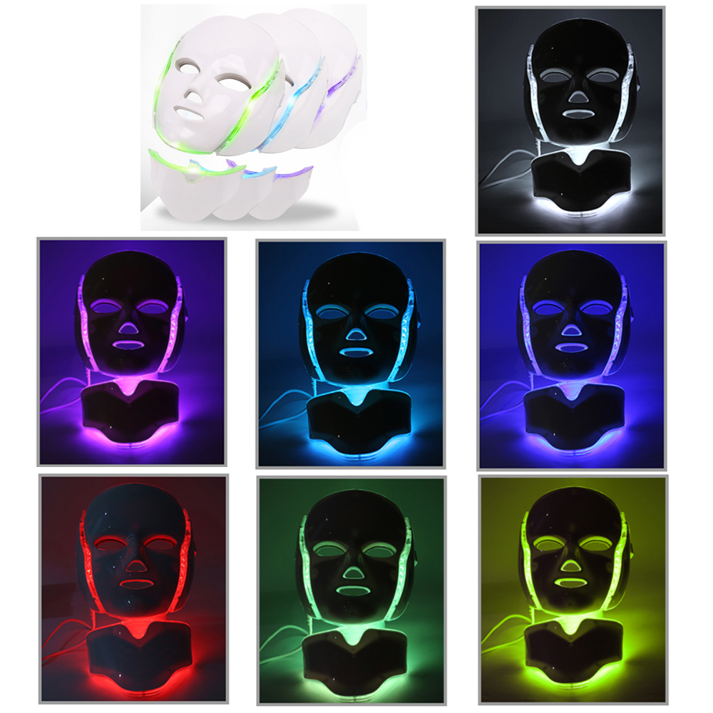 7 couleur Photon thérapie par la lumière LED masque Facial avec masque de cou Anti-rides élimination de l'acné soins de la peau du visage traitement de beauté Salon maison
