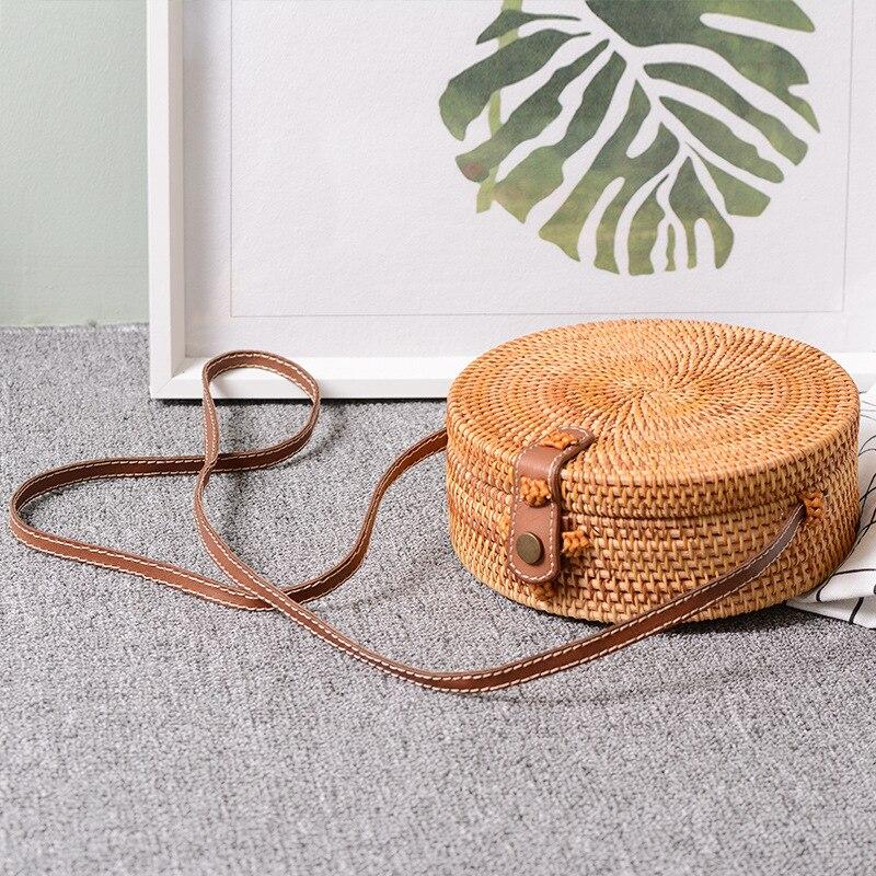 LJL Bali Vintage Handmade Crossbody Leather Bag Round Beach Bag Girls Circle Rattan bag Small Bohemian Shoulder bag