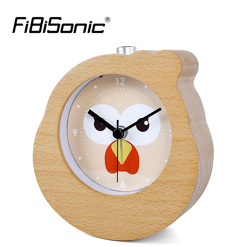 FiBiSonic Chinese Zodiac Rooster Wooden Snooze Backlight Alarm Clock Wood Desktop Needle Table Clocks
