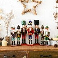 1Pcs 30CM Wooden Nutcracker Puppet Creative Desktop Decoration Christmas Ornaments Drawing Walnuts Soldier Band Doll Kids