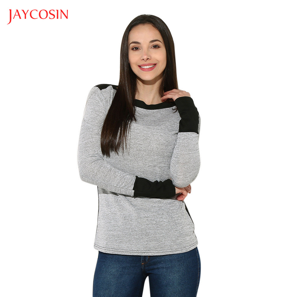 Jaycosin Clothes Women Autumn Winter O-neck Sweater Women Flannel Long Sleeve Gray Warm Sweater Loose Pullover Jumper Sweaters