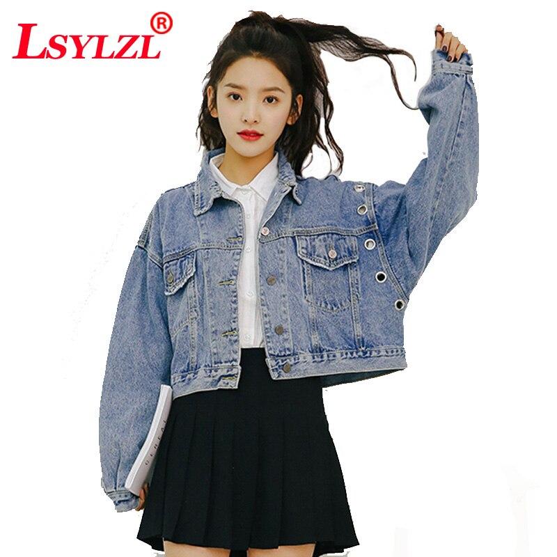 Lâche Vêtements Black Jeans B439 Denim Filles Automne Vintage Manteau Harajuku 2018 Veste Surdimensionné Bomber blue Recadrée Printemps Femmes 6wqPH6R