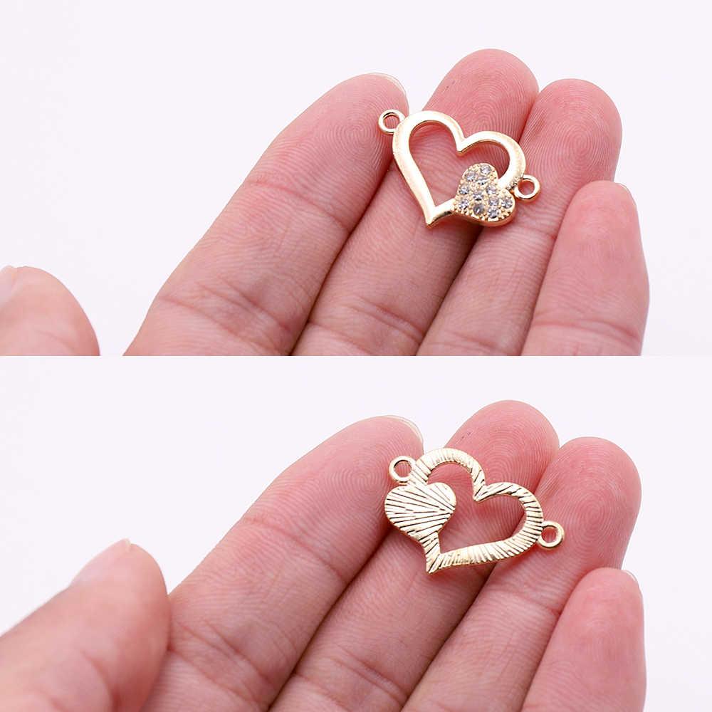 Hot 10 pcs Gold Heart Shaped ตัวเชื่อมต่อ Charms Rhinestone สัตว์รอบตัวเชื่อมต่ออุปกรณ์เสริมสำหรับเครื่องประดับทำขาย