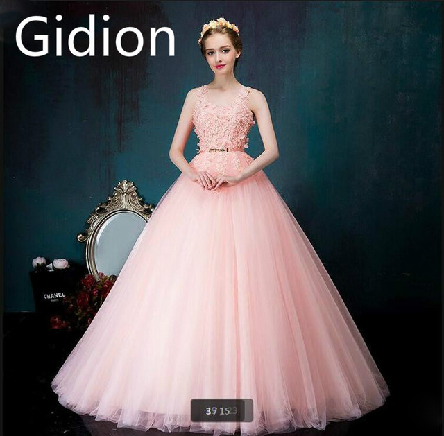 New arrival light pink ball gown prom dress sleeveless princess lace ...