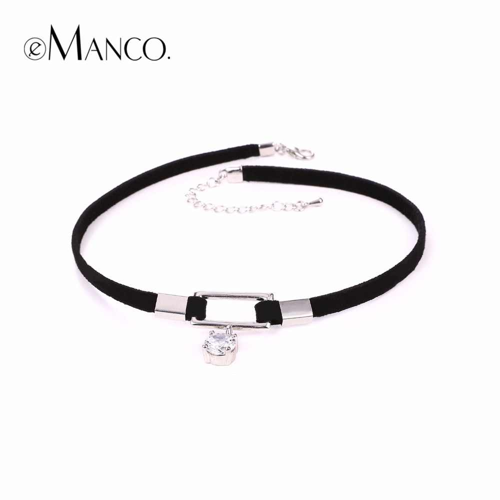 EManco ขายส่งผู้หญิงที่มีเสน่ห์สร้อยคอ Choker Black & Silver Zircon จี้สร้อยคอใหม่เครื่องประดับ