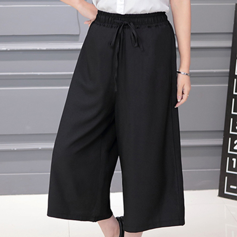 Summer Cropped Harem Pants Women Solid Color Loose Wide Leg Pants Women Pleasted With Pockets Elastic Waist Black Casual Capris