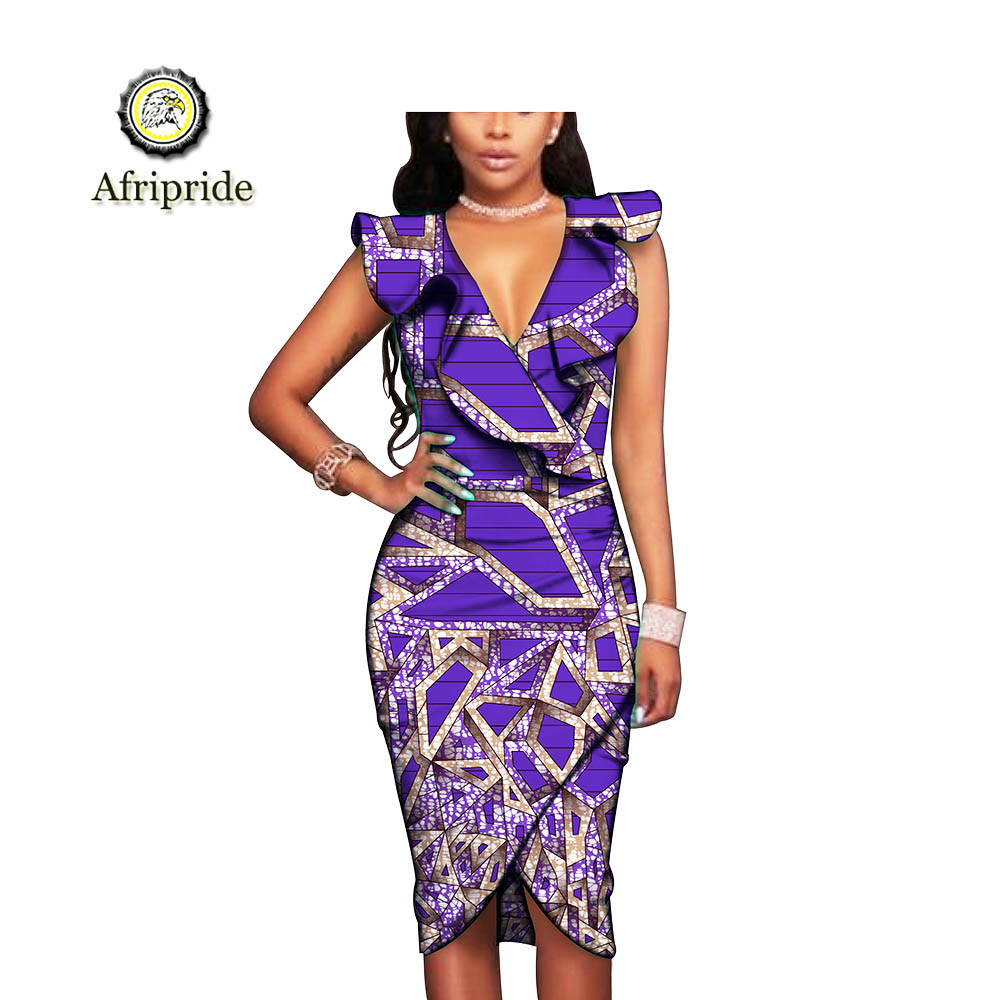2019 AFRIPRIDE African Embroidered Fabric High Quality Print Dashiki Sleeveless V-leck For Wedding Party Dress S1925022