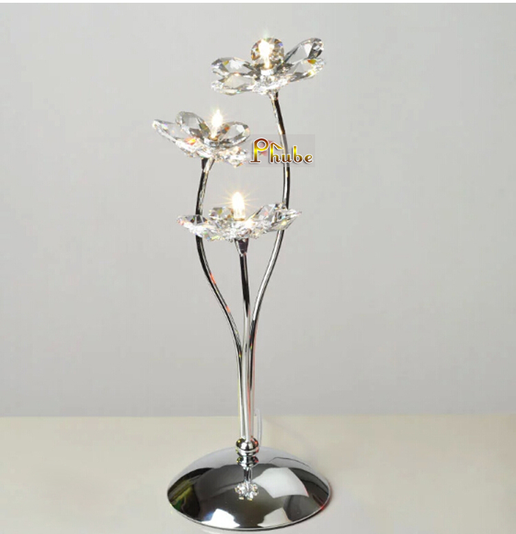 Nordic Modern Table Lamp Crystal Flower Table Lamp Desk Lamp Used In Bedroom  Nightstand Office +Free Shipping!