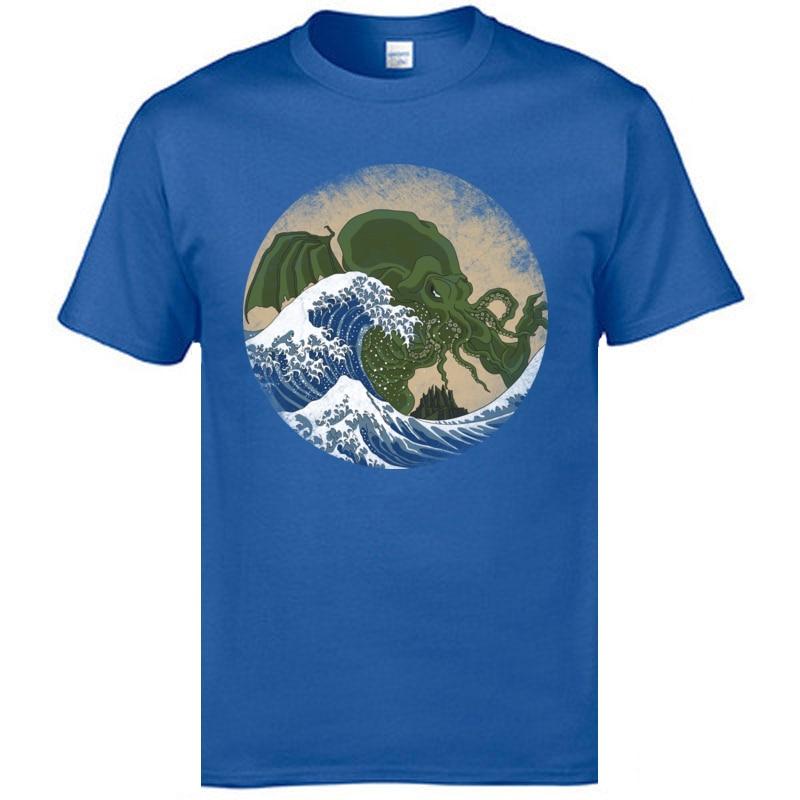 Slim Fit Hokusai Cthulhu T-shirts Hip Hop Mother Day Short Sleeve Round Collar Tees Cotton Fabric Men Print Tops T Shirt Hokusai Cthulhu blue