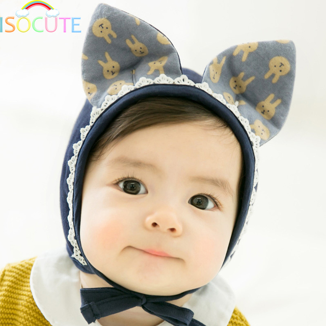420d51ca8e6 Cute Baby Bonnet Rabbit Ear Toddler Infant Girl Hat Cotton Lovely Bunny  Beanie Cartoon Animal Cap