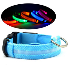 цена на Nylon Pet LED Dog Collar Night Safety LED Flashing Glow LED Pet Supplies Dog Cat Collar Small Dogs Collars with CR2017 Battery