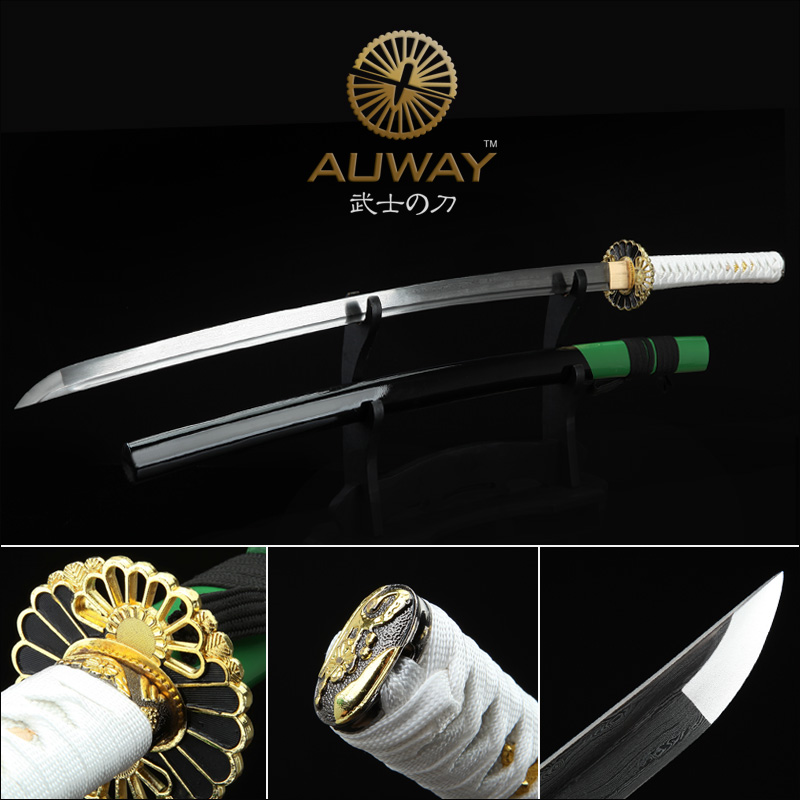 White green and black stitching. Damascus steel samurai sword. Ninja show real sword. Collection of gifts Japanese katanaWhite green and black stitching. Damascus steel samurai sword. Ninja show real sword. Collection of gifts Japanese katana