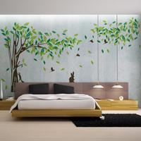 초대형 215*395 cm 큰 녹색 나무 비닐 벽 스티커 벽 스티커 홈 거실 벽 장식 벽 포스터 비닐