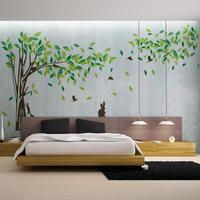 Extra Large Foreign Trade New Tree Squirrel Bird Living Room Television Background Wall Stickers Customized Wholesale