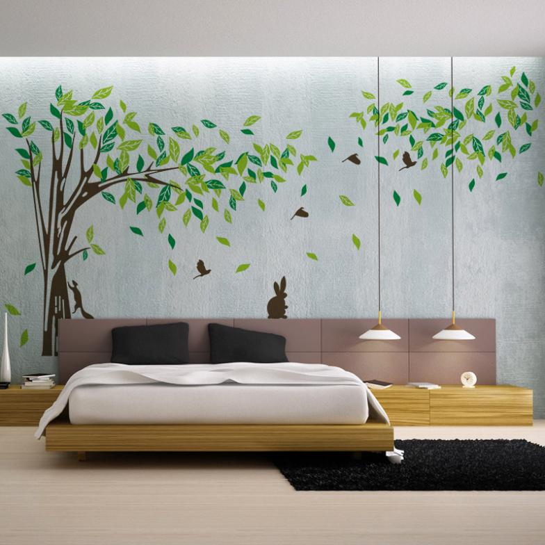 Extra Large 215 * 395 Cm Big Green Tree Vinyl Wall Stickers Wall Stickers  Home Living Room Wall Decoration Wall Poster Vinyls