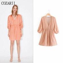 COZARII 2019 summer dress women vestidos casual style V-Neck dot three quarter sleeve empire mini de fiesta party