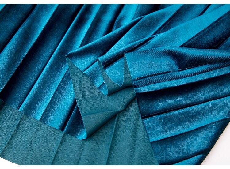 Autumn Winter Velvet Skirt High Waisted Skinny Large Swing Long Pleated Skirts Metallic 18 Colors Plus Size Saia #6