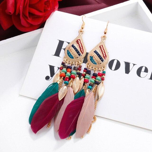 ZOSHI Bohemian Tassel Earrings for Women Dangle Long Earrings Feather Boho Drop Earrings Seed Beads Vintage Jewelry Brincos 2