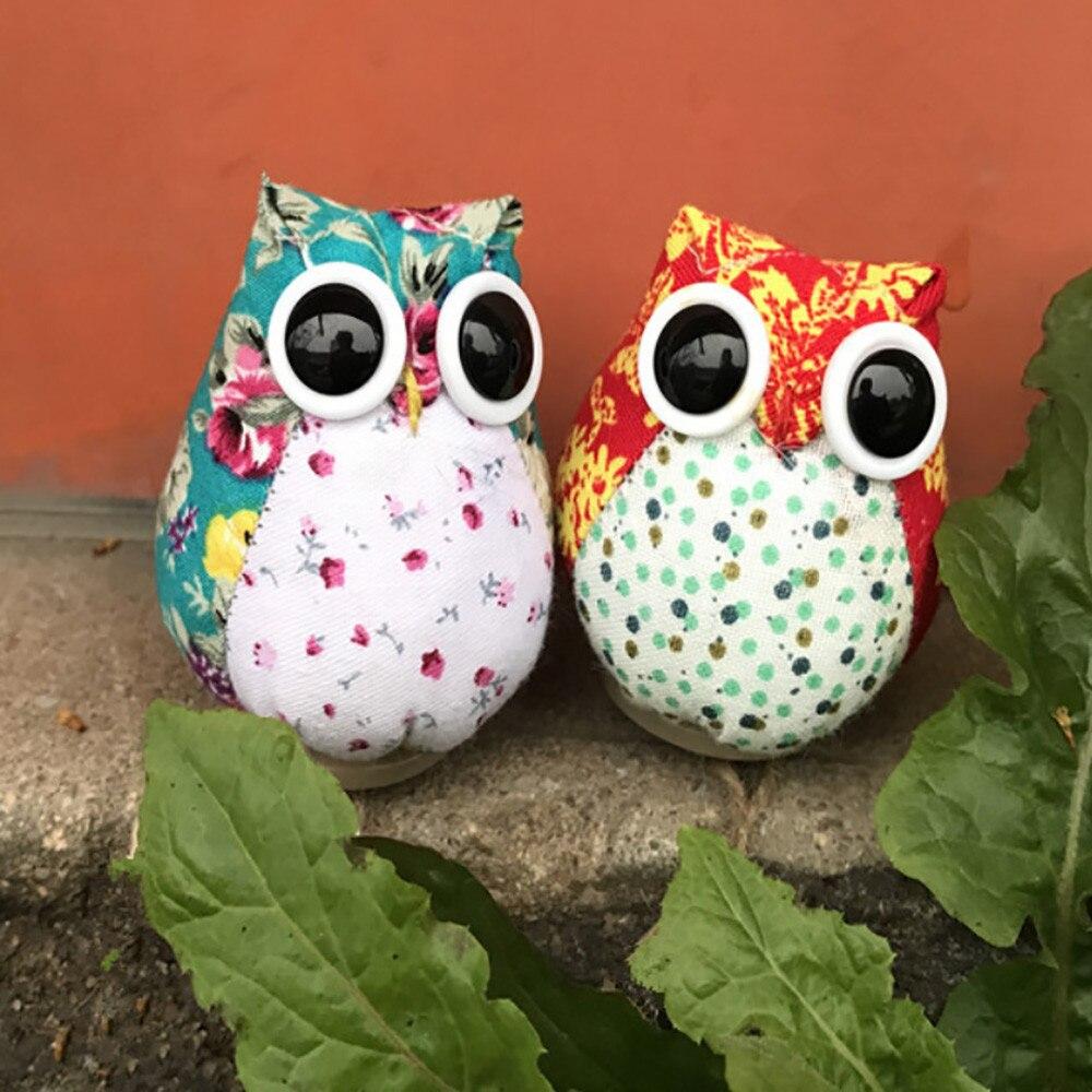 1Pc Cartoon Owl Figurines Miniatures Fairy Garden Gnome Moss Cloth Crafts Decoration Ornament Accessories For Home Decor