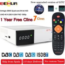 Freesat GTC приемное устройство DVB-S2 DVB-C DVB-T2 Amlogic S905D android 6,0 ТВ контейнер под элемент питания 2 Гб оперативной памяти, 16 Гб встроенной памяти+ 1 год clinne спутниковый ТВ телевизор