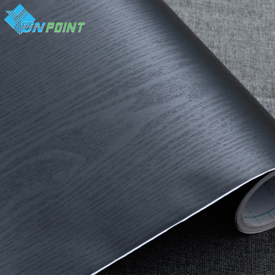 60cmX5m Black Vinyl DIY Decorative Films Furniture Wood Grain PVC Self adhesive Wallpapers for Kitchen Cabinet Door Sticker