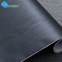 60cmX5m Black Vinyl DIY Decorative Films Furniture Wood Grain PVC Self adhesive Wallpapers for Kitchen Cabinet Door Sticker
